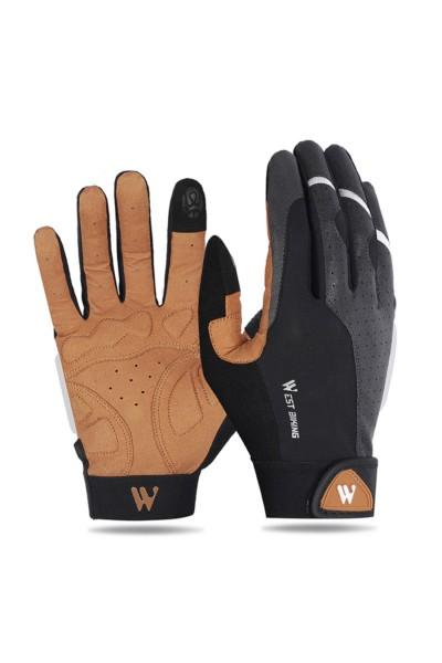Rękawiczki Rowerowe Czarno-Brązowe Długie palce