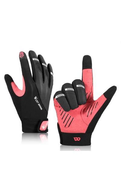 Rękawiczki Rowerowe Czarno-Różowe Długie palce